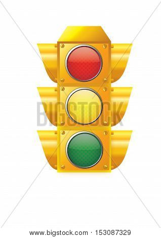 traffic, light, vector, stop, isolated, illustration, red, green,yellow