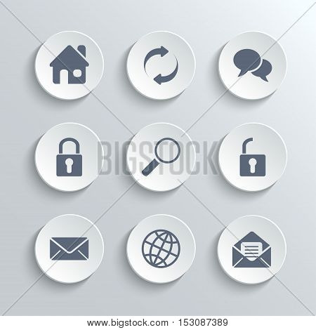Web icons set - vector white round buttons with home refresh speech bubble lock search unlock mail globe