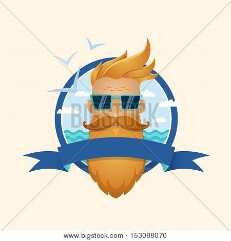 Hipster Man Portrait Logo. Vector Eps10.