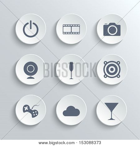 Multimedia icons set - vector white round buttons with power film camera webcam party disco game cloud cocktail symbols