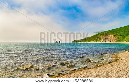 Amazing coastal view with Two Brothers rock.  Panorama