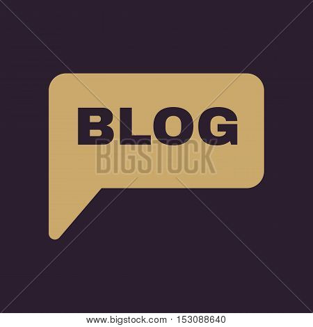 The speech bubble with a blog icon. Internet and forum, chat, online symbol. Flat Vector illustration