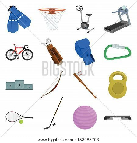 Sport and fitness set icons in cartoon style. Big collection sport and fitness vector symbol stock