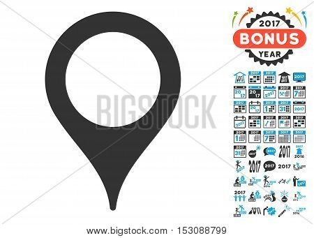 Map Pointer pictograph with bonus 2017 new year pictograms. Glyph illustration style is flat iconic symbols, blue and gray colors, white background.