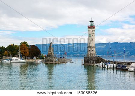 Lindau city, Bodensee, Lighthouse and Entrance of the Harbour. Bavaria region in Germany, Europe
