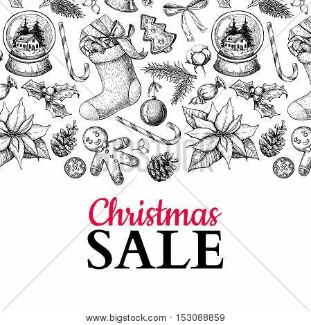 Christmas sale banner. Vector hand drawn illustration. Xmas plants and symbols. Holiday engraved decorations. Great for voucher, coupon, card, offer, seasonal discount