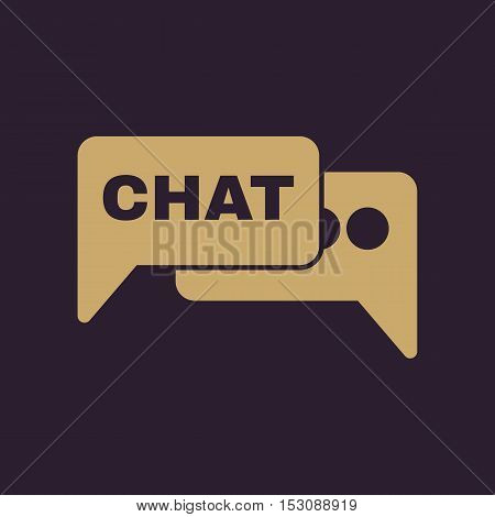 The speech bubble with a chat icon. Internet and forum, blog, online symbol. Flat Vector illustration