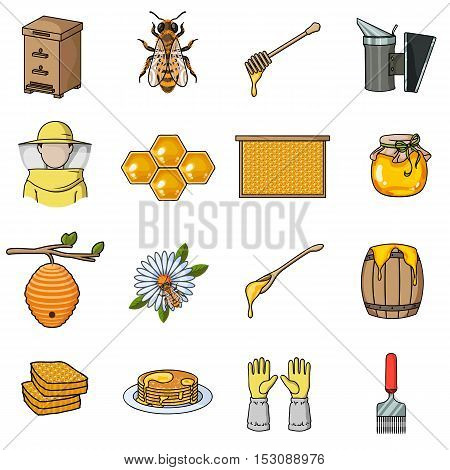 Apiary set icons in cartoon style. Big collection apiary vector symbol stock