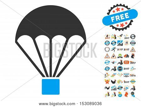 Parachute icon with bonus 2017 new year pictures. Glyph illustration style is flat iconic symbols, blue and gray colors, white background.