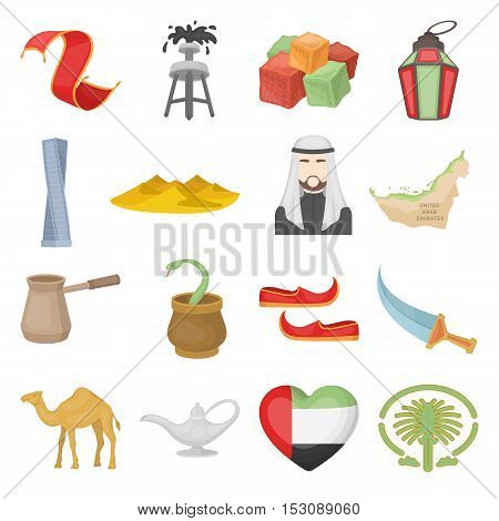 Arab Emirates set icons in cartoon style. Big collection Arab Emirates vector symbol stock