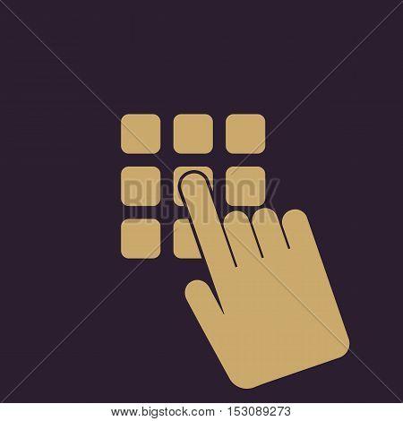 The pin code icon. Password and  unlock, access, identification, unlock symbol. Flat Vector illustration. Button