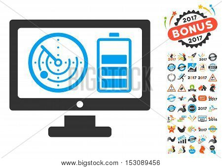 Radar Battery Control Monitor pictograph with bonus 2017 new year clip art. Glyph illustration style is flat iconic symbols, blue and gray colors, white background.