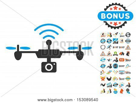 Radio Camera Airdrone icon with bonus 2017 new year graphic icons. Glyph illustration style is flat iconic symbols, blue and gray colors, white background.