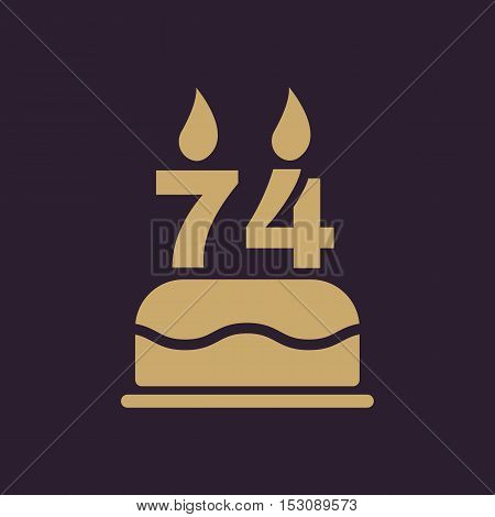 The birthday cake with candles in the form of number 74 icon. Birthday symbol. Flat Vector illustration