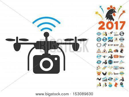 Radio Camera Drone icon with bonus 2017 new year graphic icons. Glyph illustration style is flat iconic symbols, blue and gray colors, white background.