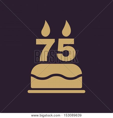 The birthday cake with candles in the form of number 75 icon. Birthday symbol. Flat Vector illustration