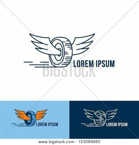 Car Wheel With Wings Logo. Vector Logo Design. Three Color Choices.
