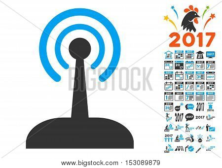 Radio Control Joystick pictograph with bonus 2017 new year design elements. Glyph illustration style is flat iconic symbols, blue and gray colors, white background.