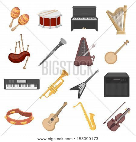 Musical instruments set icons in cartoon style. Big collection musical instruments vector symbol stock