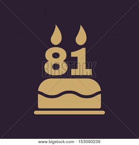 The birthday cake with candles in the form of number 81 icon. Birthday symbol. Flat Vector illustration
