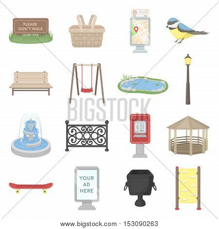 Park set icons in cartoon style. Big collection park vector symbol stock