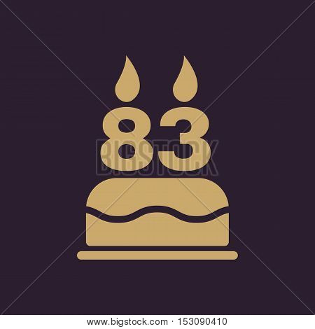 The birthday cake with candles in the form of number 83 icon. Birthday symbol. Flat Vector illustration