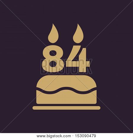The birthday cake with candles in the form of number 84 icon. Birthday symbol. Flat Vector illustration