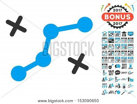 Route Points pictograph with bonus 2017 new year graphic icons. Glyph illustration style is flat iconic symbols, blue and gray colors, white background.