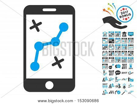 Route Smartphone icon with bonus 2017 new year pictures. Glyph illustration style is flat iconic symbols, blue and gray colors, white background.
