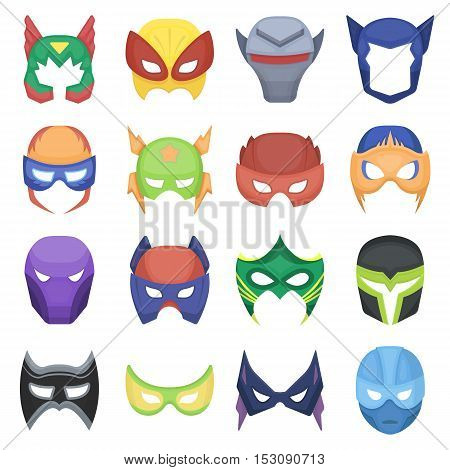 Superhero mask set icons in cartoon style. Big collection superhero mask vector symbol stock