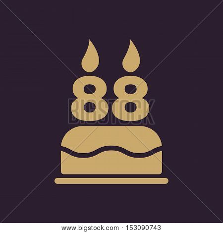 The birthday cake with candles in the form of number 88 icon. Birthday symbol. Flat Vector illustration
