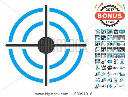 Target pictograph with bonus 2017 new year pictograph collection. Glyph illustration style is flat iconic symbols, blue and gray colors, white background.