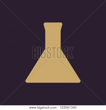 The test-tube icon. Flask and chemical, analysis, chemistry, laboratory symbol. Flat Vector illustration