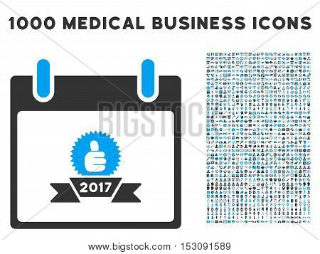 Blue And Gray 2017 Award Ribbon Calendar Day glyph icon with 1000 medical business pictograms. Set style is flat bicolor symbols, blue and gray colors, white background.