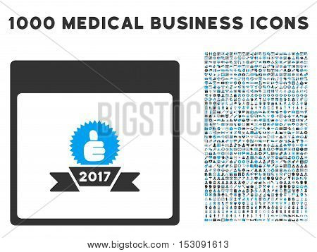 Blue And Gray 2017 Award Ribbon Calendar Page glyph icon with 1000 medical business pictograms. Set style is flat bicolor symbols, blue and gray colors, white background.