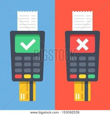 POS terminals with checkmarks, receipts, inserted credit cards. Tick and cross on displays. Checkout, terminal payment, pay with credit card concepts. Flat design graphic elements. Vector illustration