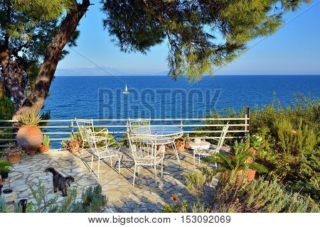 Picnic table and chairs under pine trees in courtyard on coast of Aegean sea at sunset time White sailing yacht on background. Attica Greece