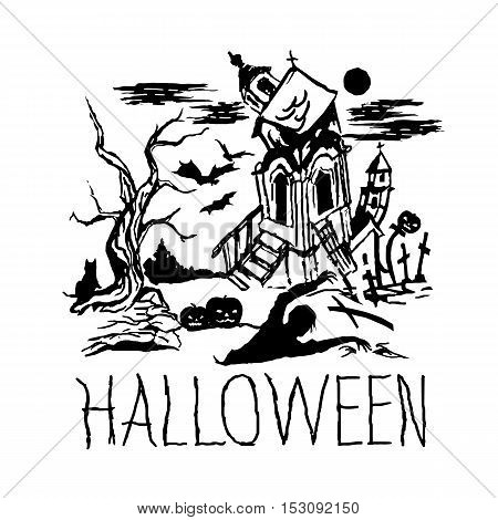 Halloween black castle with tree and zombie. Vector illustration.