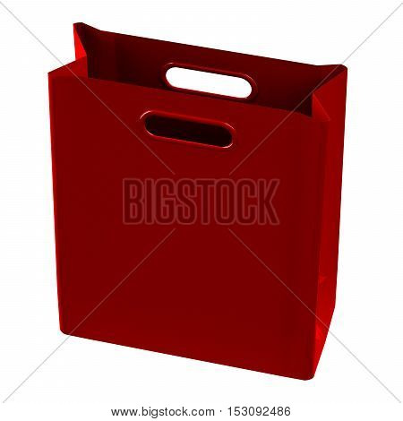 Red shopping bag isolated on white background. 3D render.