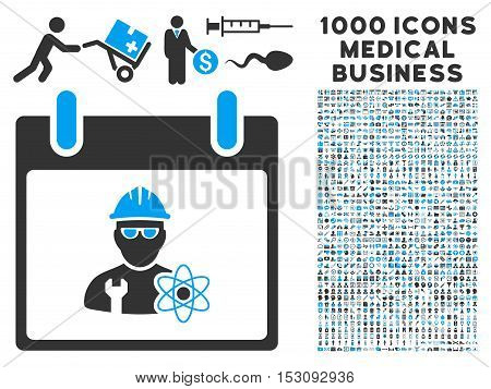 Blue And Gray Atomic Engineer Calendar Day glyph icon with 1000 medical business pictograms. Set style is flat bicolor symbols, blue and gray colors, white background.