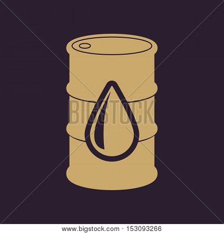 The barrel icon. Cask and oil, gasoline, petrol, benzine symbol. Flat Vector illustration