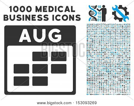 Blue And Gray August Calendar Grid glyph icon with 1000 medical business pictograms. Set style is flat bicolor symbols, blue and gray colors, white background.