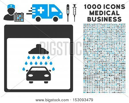 Blue And Gray Automobile Shower Calendar Page glyph icon with 1000 medical business pictograms. Set style is flat bicolor symbols, blue and gray colors, white background.