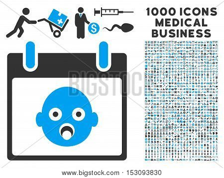Blue And Gray Baby Head Calendar Day glyph icon with 1000 medical business pictograms. Set style is flat bicolor symbols, blue and gray colors, white background.