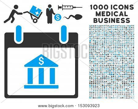 Blue And Gray Bank Building Calendar Day glyph icon with 1000 medical business pictograms. Set style is flat bicolor symbols, blue and gray colors, white background.