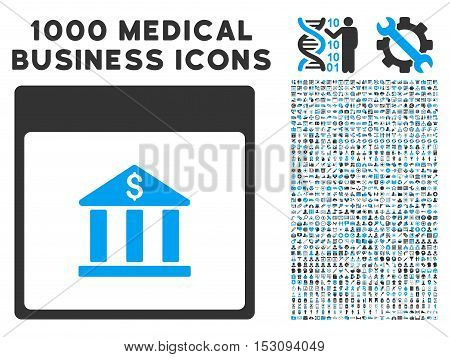 Blue And Gray Bank Building Calendar Page glyph icon with 1000 medical business pictograms. Set style is flat bicolor symbols, blue and gray colors, white background.