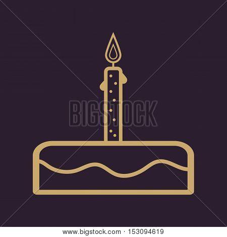 Birthday cake sign icon. Cake with burning candle symbol. Vector illustration