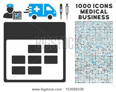 Blue And Gray Calendar Month Grid glyph icon with 1000 medical business pictograms. Set style is flat bicolor symbols, blue and gray colors, white background.