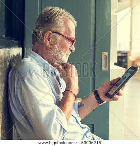 Senior Man Digital Tablet Connection Technology Concept