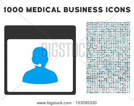 Blue And Gray Call Center Manager Calendar Page glyph icon with 1000 medical business pictograms. Set style is flat bicolor symbols, blue and gray colors, white background.